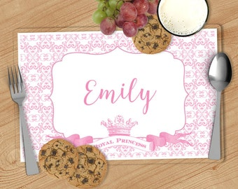 Princess Kids Personalized Placemat, Customized Placemats for kids, Kids Placemat, Personalized Kids Gift