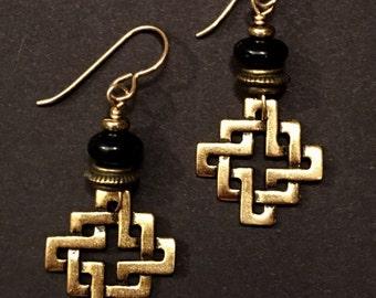 Artisan earrings #15...Eternal knot with black stone