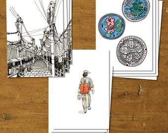 Japanese Postcard Set - set of 12, 4 each of 3 designs