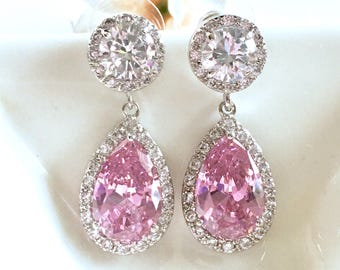 Wedding Bridal Earrings Halo Light Pink Pear Shaped Cubic Zirconia with Round White Gold Plated Post Earrings
