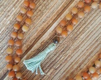 Hand Knotted Mala 108 Bead Mala Peach Moonstone Mala Beads Light Blue Tassel Mala Necklace Yoga Mala Meditation Necklace