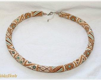 Elegant beige bronze patchwork bead crochet necklace handmade jewelry