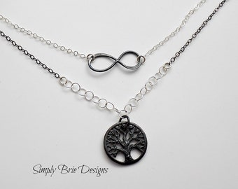 Tree Of Life Necklace Double Strand Sterling Silver Infinity Necklace Tree Jewelry Black Oxidized Silver Tree Charm Fall Jewelry