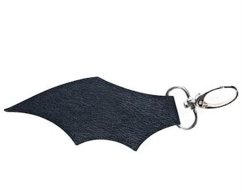 Black Leather Bat Wing Keyring Bag Charm Clip