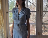 WELCOME SPRING SALE Sweet Powder Blue Eyelet Lace Forties Frock/Vintage 1940s/Smocked Shoulders/Pale Blue Rayon Spring Dress/Small