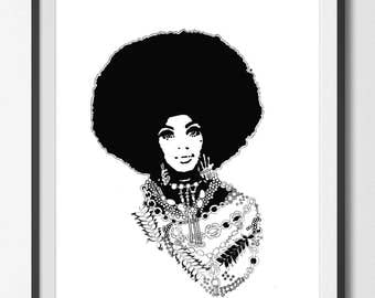 MY MONA Afro Woman ART Print Large Home Decor Contemporary  Bedroom  Girls Room Home by The Urban Tiger
