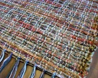 handmade loom woven rust brown earth tones designer fabric  south dakota made