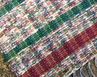 Handmade green and maroon burgundy  loom woven rag rug  south dakota made