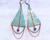 Long Boho Triangle Earrings with Hematite