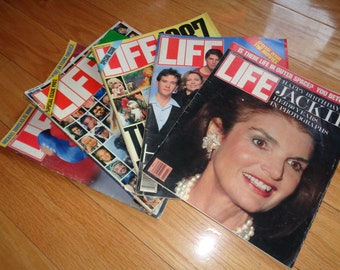 5 Vintage LIFE MAGAZINES from the 1980's Decade in Vintage Condition which give a historical viewpoint of those times back in the day