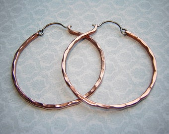 Hammered Copper Hoop Earrings Big Earrings Rustic Jewelry Large Hoop Earrings Large Hoops Metalwork Jewelry