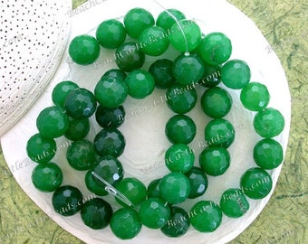 "3 ~ 6"" Strands Sale Beads Destash & Supplies Beads 14mm Faceted Emerald Green Malaysia Jade Beads Semi Precious Stone Gemstone Beads  DS-830"