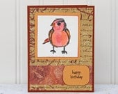 Bird Birthday Card, Happy Birthday with Colorful Bird, Handmade Birthday Greeting Card, Orange and Red, Birthday Card for Bird Lovers