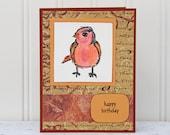Bird Birthday Card, Happy Birthday with Colorful Bird, Handmade Birthday Greeting Card, Orange and Red, Birthday Card for Bird Lovers