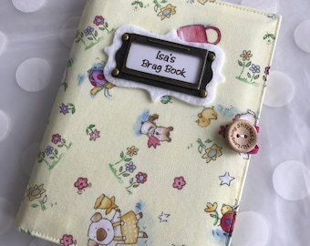 Photo Album Personalized Brag Book holds 48 Pictures - sweet garden animals fabric