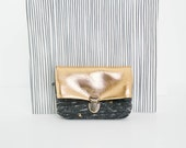 Coin purse/ Tiny pouch/ Golden leather and golden printed grey fabric