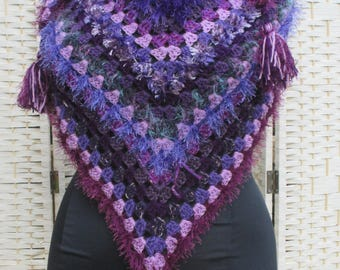 Multi textured triangular shawl in shades of purples