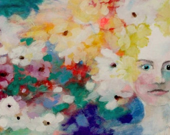 "Abstract Floral, Angel, Female Portrait, Colorful Acrylic Painting ""Flowers are Her Superpower"" 12x24"""