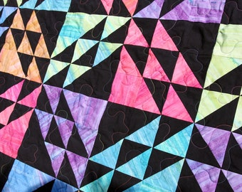 Batik Patchwork Quilt, Twin / Double Size, Rainbow Prism Handmade by PingWynny