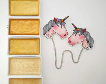 Non existent rainbow unicorn double brooch/collar clips