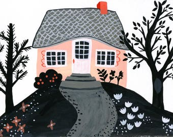 Tiny House Illustration. Small Original Painting, Baby Girl Wall Decor. Modern Nursery Art. Playroom Decor. Pink Painting. Kids Room Art