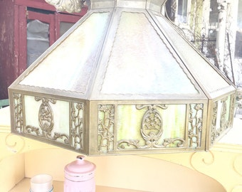 Vintage stained glass light fixture pair available shabby chic prairie cottage chic
