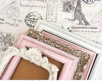 Shabby Chic Nursery PICTURE FRAMEs - pink gold cream - Distressed Vintage Style - with Glass and Backing SALE