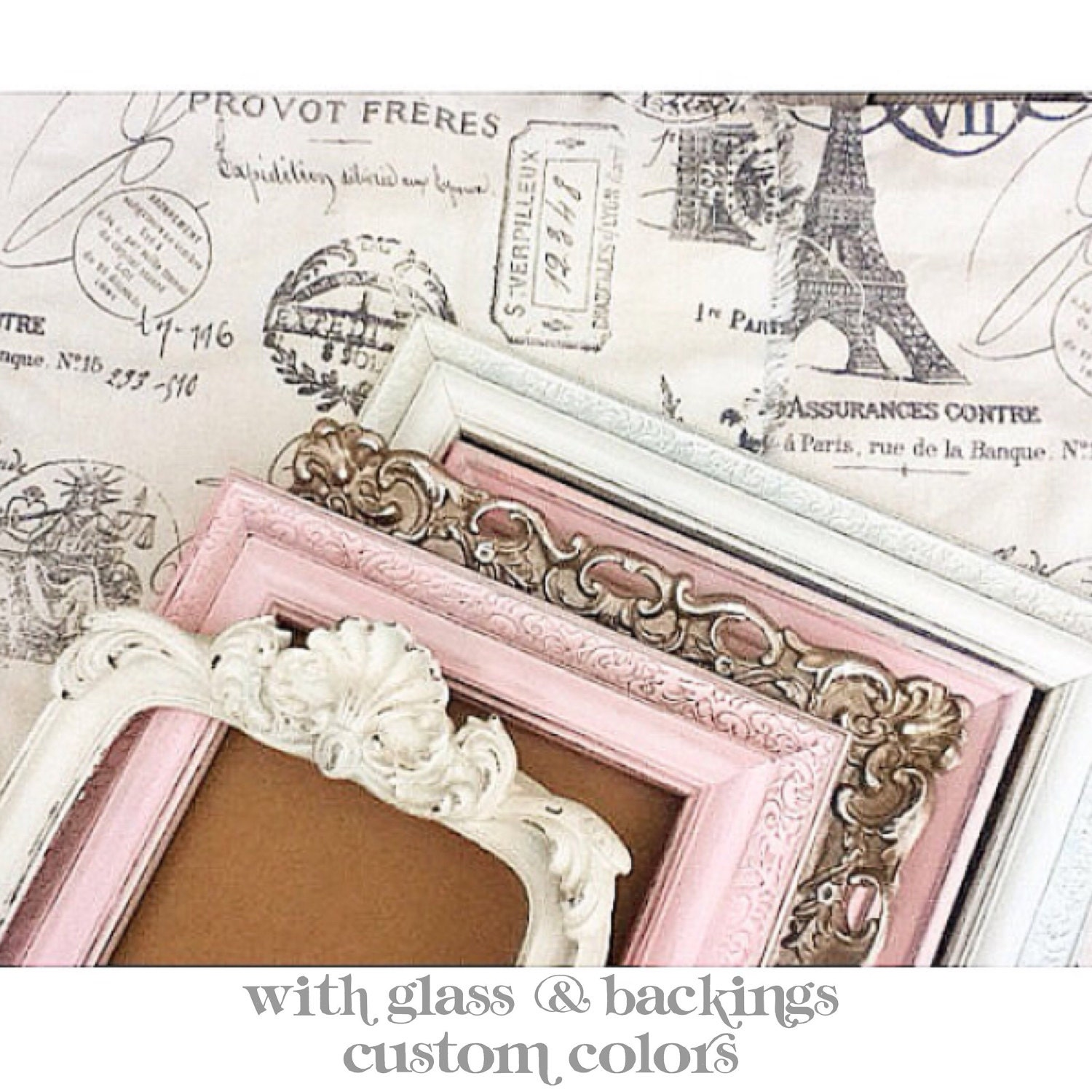 Vintage Inspired Classic Soft Pink Nursery: Shabby Chic Nursery PICTURE FRAMES Pink Gold Cream