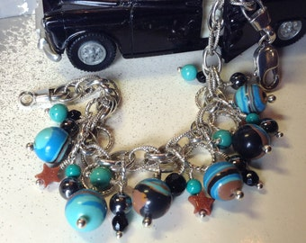 Fordite - Dearborn Michigan Vintage Car Paint Beads Bracelet, Sterling Silver with Black Onyx, Turquoise & Goldstone accents