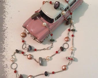 Fordite Nuggets on Sterling Silver Twisted Wirework Station Necklace with Handmade Raku Beads, Copper Coin & Round Pearls, Carnelian Accents