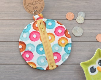Round Zippered Earbud/Coin Pouch/Purse - Vintage Fruit Loops Cereal Pattern