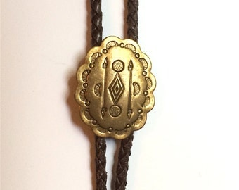 Bolo Tie with Brass and Brown Leather