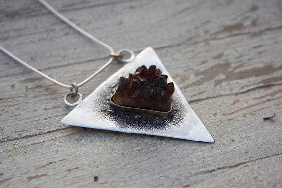 CITRINE DRUZY NECKLACE- Sterling Silver- Citrine Druzy- Bespoke Crystal Necklace- Healing Crystal- Silver Jewellery- Birth Stone- Vintage