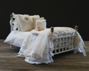 Bed linens for Dolls.  Ready to ship.  Ivory/Cream/Gold Collection.