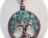 Miniature Aquamarine Antiqued Copper Wire Wrapped Tree of Life, Aquamarine Tree, Emerald Jewelry, Aquamarine Necklace