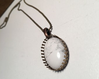 White Howlite Pendant necklace in Bronze Crown Setting