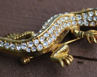 Cute Vintage Rhinestone Swarovski Crystal Gecko Lizard Brooch Pin