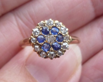 1900s Rose cut Diamonds and Sapphires...set in Rose gold....Art Deco  flower ring  Dasiey Ring  Engagment ring or right hand ring