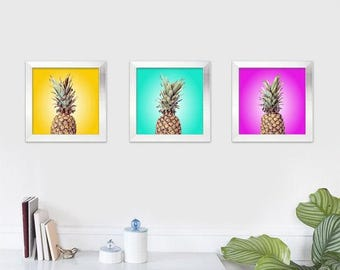 Pineapple triptych print set. Trio of pineapple art prints in neon yellow, turquoise and fuchsia. Food photographs, Kitchen decor, fruit art
