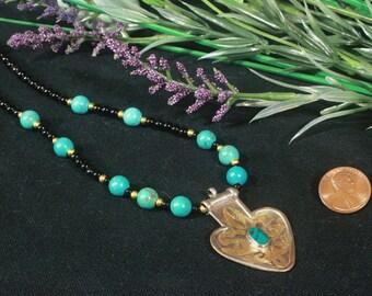Turkoman Necklace, Turkmen Ethnic Jewelry, Ethnic Necklace, Ethnic Pendant , Good Luck Necklace, Protection Amulet, Afghan Jewelry