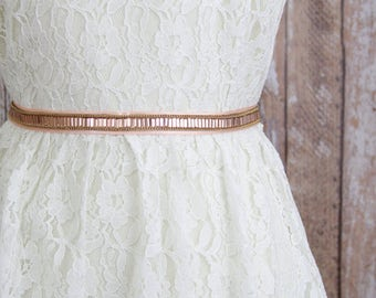 Skinny Peach Blush Stone Lace Sash Belt, Skinny Blush Wedding Sash, Peach Jewel Lace Belt