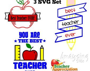 SVG Set - Best Teacher Ever - Teacher Appreciation Week - Apple - Teacher Gift - End of Year Gift - School - Ruler - Pencil - Best Teacher