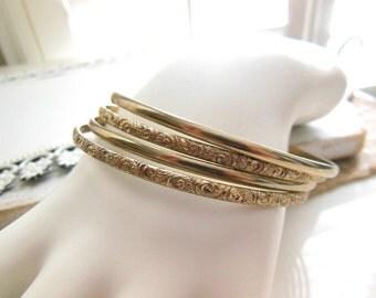 Vintage Light Gold Tone Metal Scroll Stacked Bangle Bracelet Set YY13