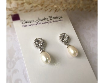 Bridal Earrings, Drop Pearl Earrings, Ivory Freshwater Pearl Earrings, Wedding Earrings, Bridal Jewelry, Sterling Silver