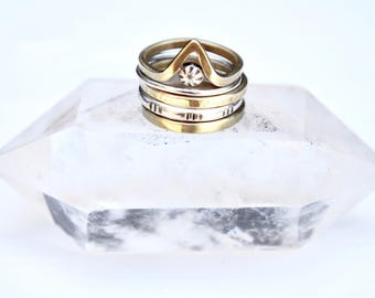 Arc Stacking Ring Set // Mixed Metal Stackable Bands