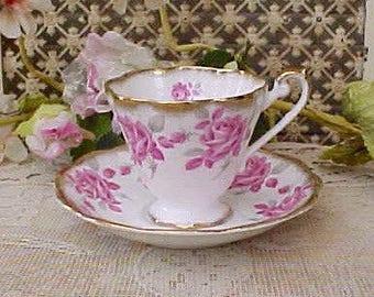 Beautiful English Bone China Teacup and Saucer-Margaret Rose
