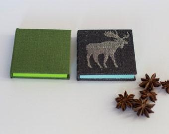 sticky notes case holder - linen cover - green dark blue moose sticking notes packaging everyday office gift handmade