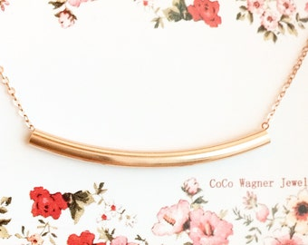 Rose Gold Bar Necklace, Rose Gold Filled Bar Necklace, Rose Gold Curved Bar Necklace, Bar Necklace, Everyday Wear, Layering Necklace