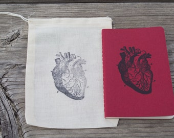 Red Anatomical Human Heart Joural Notebook in Gift Bag Christmas Gift Stocking Stuffer