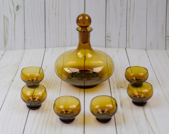 Vintage Amber Glass Liquor Decanter & Glasses